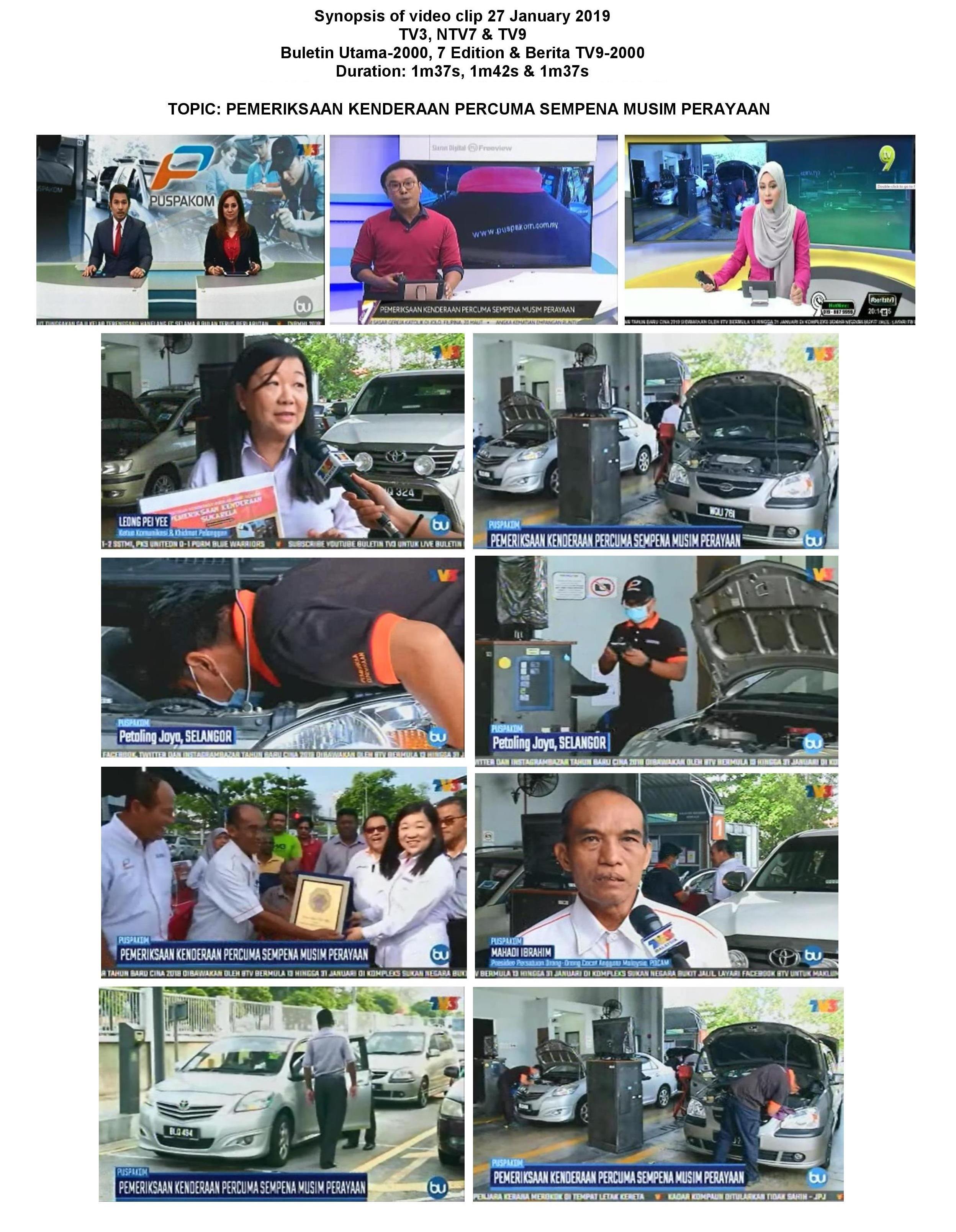 Synopsis of TV3, NTV7 & TV9_27.1_Pemeriksaan Kenderaan Percuma Sempena Musim Perayaan