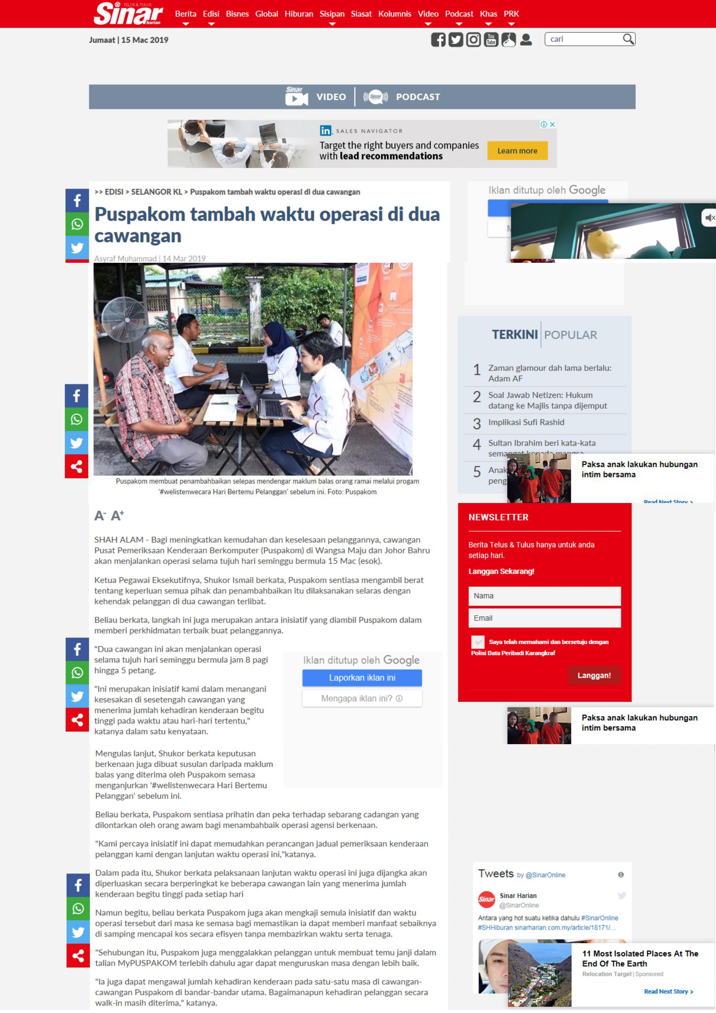 Sinar Harian Online_14.3_Puspakom tambah waktu operasi di dua cawangan