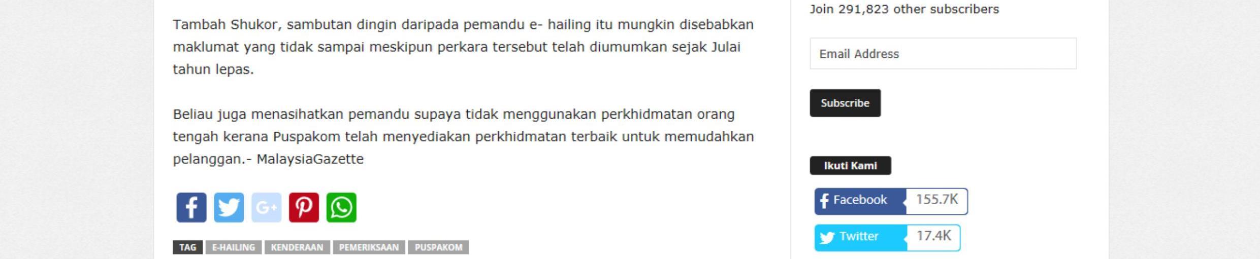 Malaysia Gazette_14.4_Sambutan dingin pemilik kenderaan e-hailing jalani pemeriksaan Puspakom 2-2