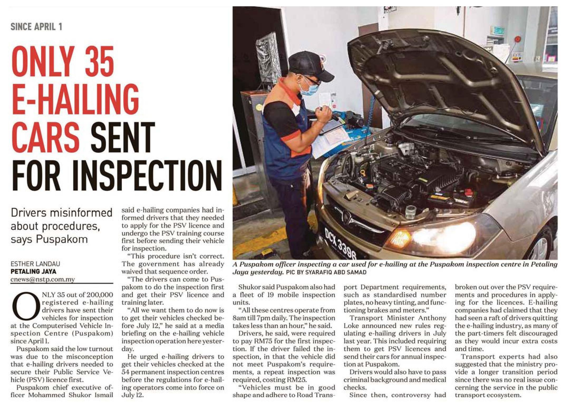 New Straits Times_15.4_Only 35 e-hailing cars sent for inspection