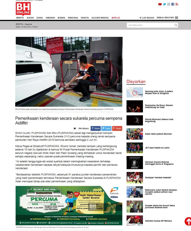 Berita Harian.com_25.5_Pemeriksaan kenderaan secara sukarela percuma sempena Aidilfitri 1-3