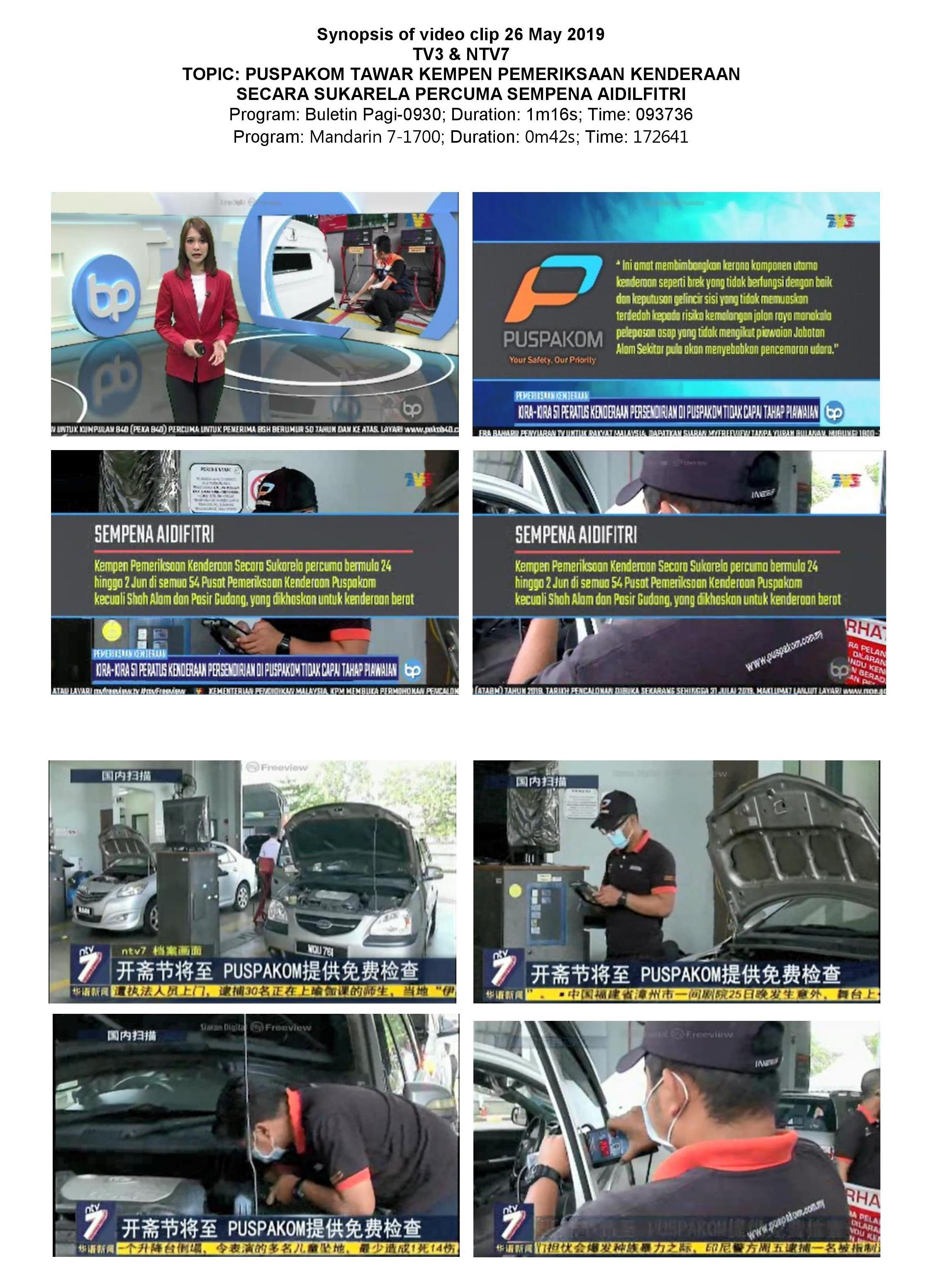 Synopsis of TV3 & NTV7_26.5_PUSPAKOM tawar kempen pemeriksaan kenderaan secara sukarela percuma sempena Aidilfitri